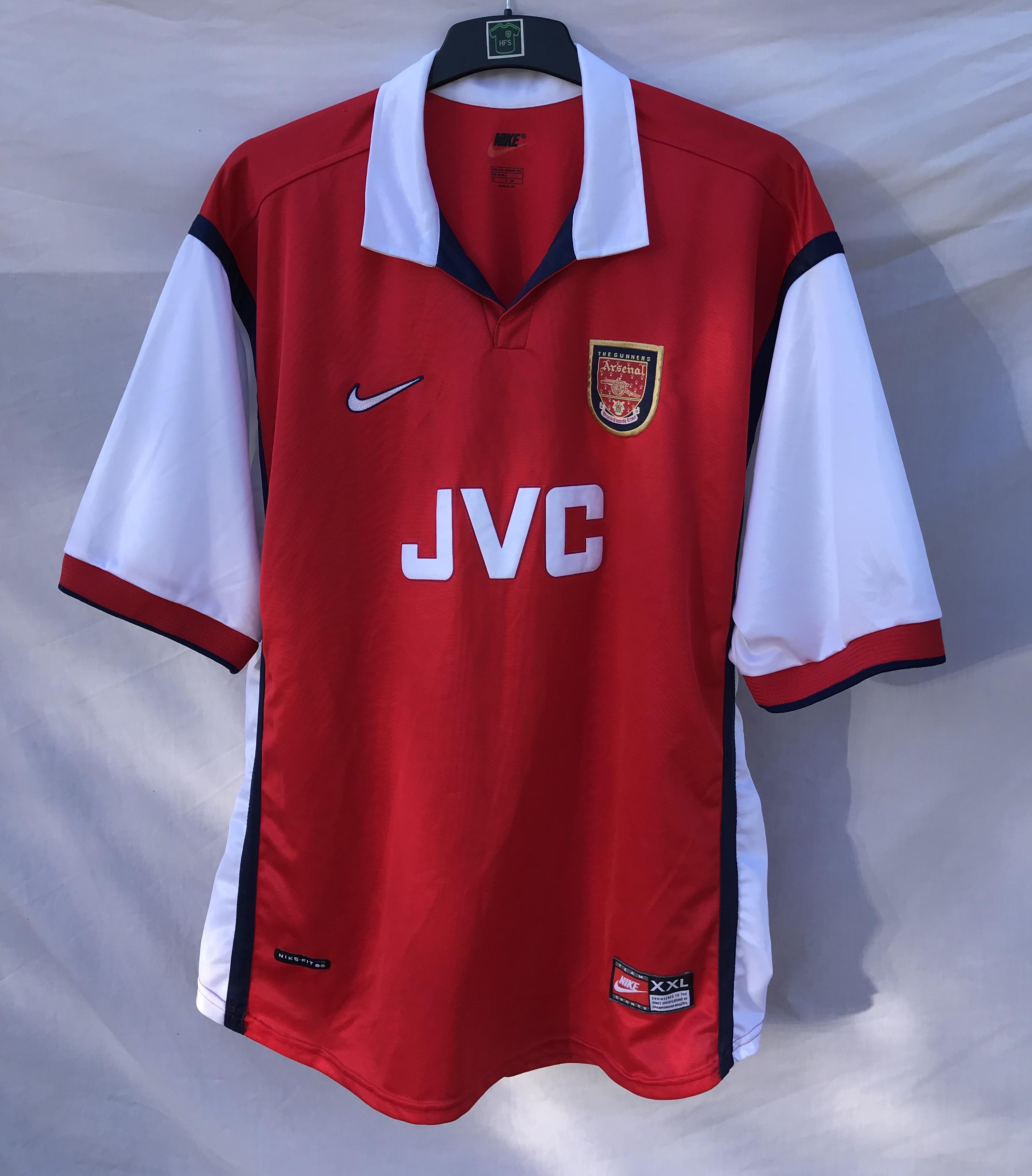 ffeb15e28d317 Arsenal Football Shirt 1998 99 Adults XXL Nike – Historic Football ...