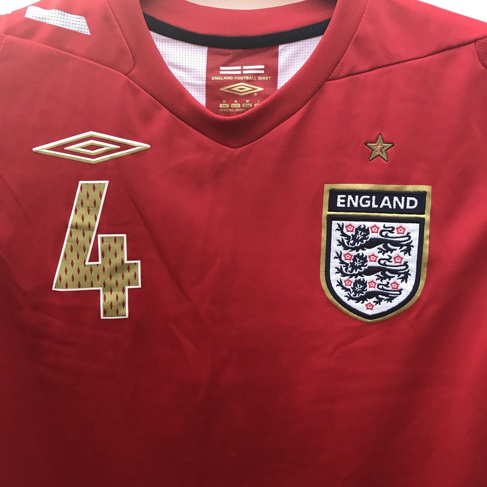 45e5037a6 England Steven Gerrard 4 Football Shirt 2006 08 Adults Medium Umbro. 🔍.  outofstock