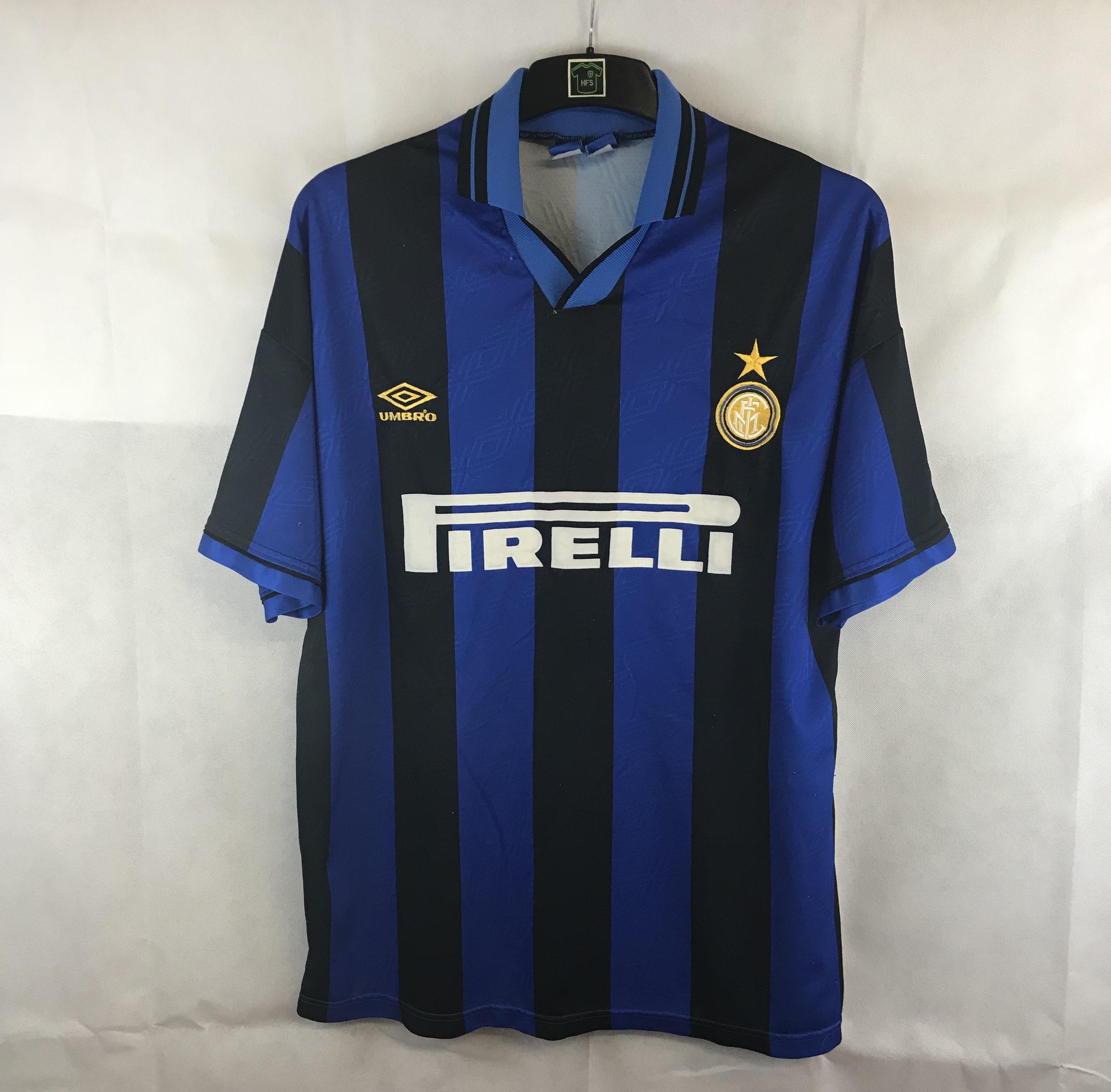 58a52de23 Inter Milan Home Football Shirt 1995/96 Adults XL Umbro – Historic ...