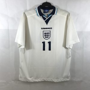 d6d75bcab15 England Anderton 11 Home Football Shirt 1995 97 Adults XXL Umbro